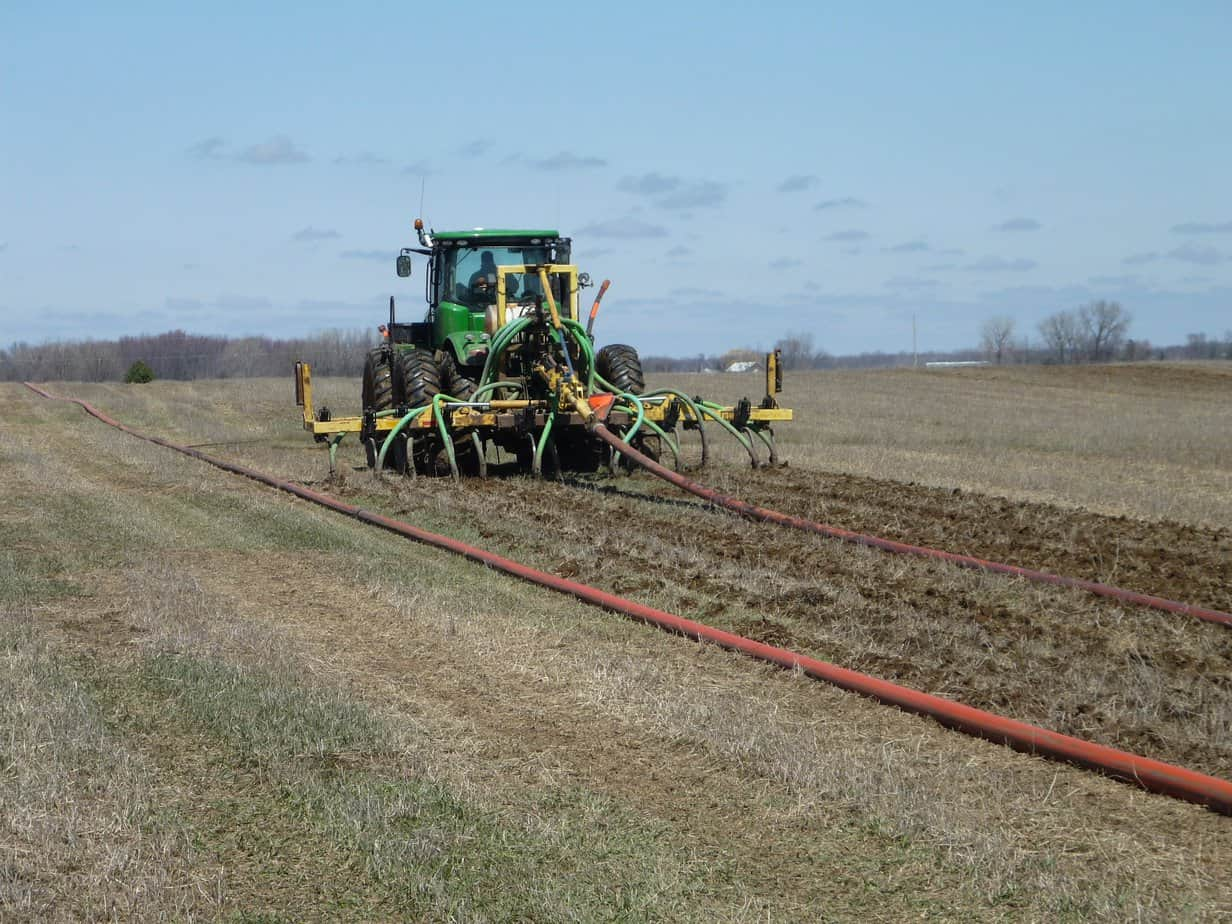 Manure being knifed into a field