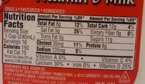 whole milk nutrition label.